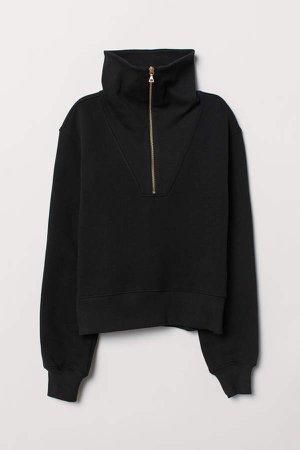 Sweatshirt with Zip - Black