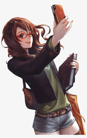 Brown Hair Anime Girl Glasses Phone Render Png By Seikiyukine - Anime Girl With Brown Curly Hair PNG Image | Transparent PNG Free Download on SeekPNG