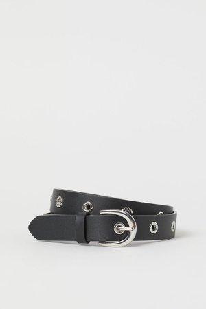 Grommet-detail Belt - Black