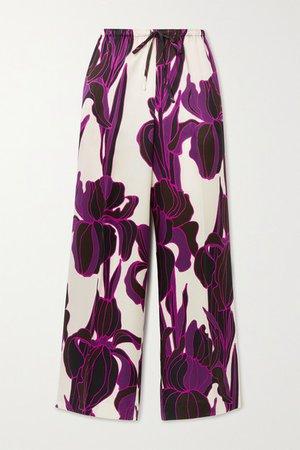 Floral-print Silk Wide-leg Pants - Purple