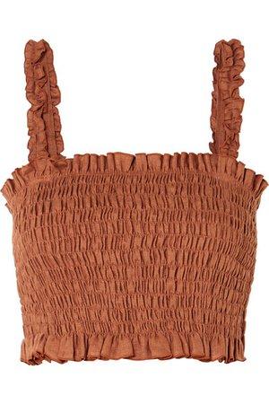 Faithfull The Brand   Tijana smocked linen cropped top   NET-A-PORTER.COM