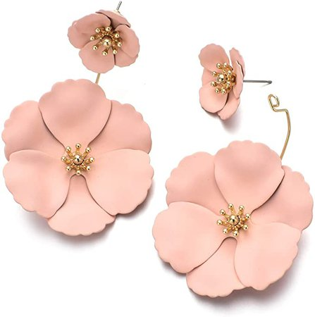 Amazon.com: Metal Poppy Flower Dangle Earring- Matte Painted Dual Flower Floral Petal Tiered Drop for Women: Clothing