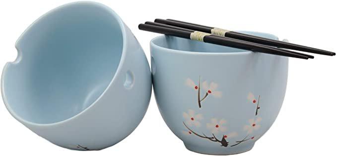 Amazon.com   Ebros Ceramic Japanese Sakura Cherry Blossoms Sky Blue Ramen Udong Noodles Bowls and Chopsticks Set of 2 for Asian Dining Soup Rice Pasta Salad Collection of Bowl Decor Home Kitchen: Soup Bowls