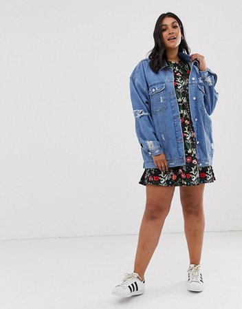 Missguided Plus oversized denim jacket in blue   ASOS