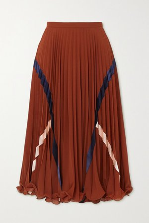 Satin-trimmed Pleated Voile Midi Skirt - Burgundy