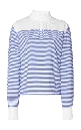 Philosophy di Lorenzo Serafini Striped Cotton-Poplin Blouse