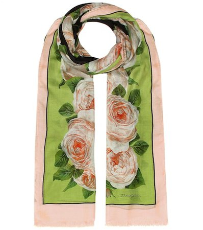 Printed modal and cashmere scarf