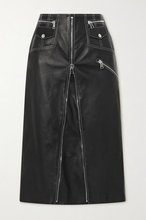 Zip-embellished Topstitched Leather Midi Skirt - Black