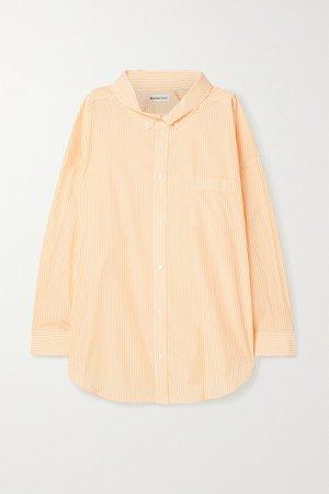 Yellow Oversized printed striped cotton-poplin shirt   Balenciaga   NET-A-PORTER