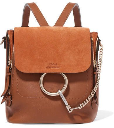 Faye Small Textured-leather And Suede Backpack - Tan