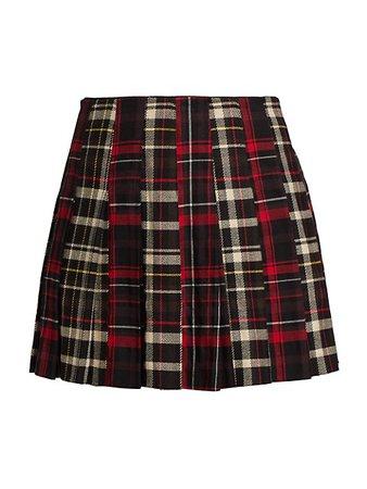 Alice + Olivia Carter Plaid Pleated Mini Skirt