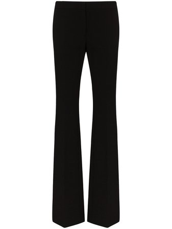 Mid-Rise Flared Trousers Pants
