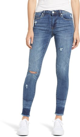 The Bond Distressed High Waist Ankle Skinny Jeans