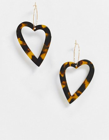 ASOS DESIGN hoop earrings with tortoiseshell heart charm in gold tone | ASOS