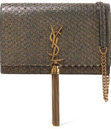 Kate Small Snake-effect Metallic Suede Shoulder Bag - Gold