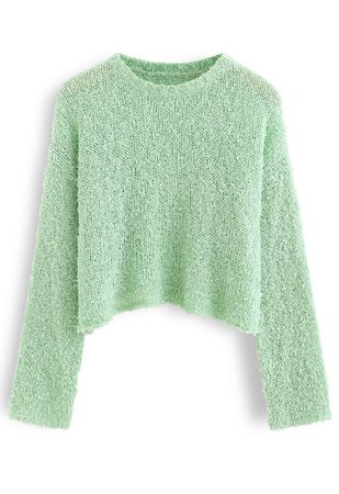 Cropped Fluffy Hollow Out Knit Sweater in Pea Green - Retro, Indie and Unique Fashion