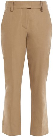 Cropped Cotton-blend Twill Straight-leg Pants
