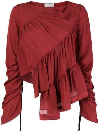 ruffled longsleeved blouse