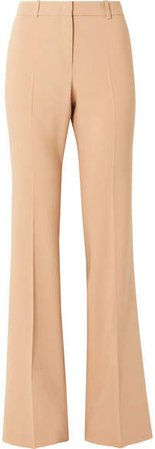 Stretch Wool-blend Flared Pants - Sand