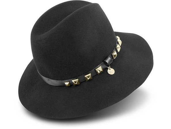 """Patrizia Pepe Black Wool Hat with Studded Leather Band Head Size: 7 1/8 