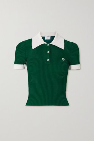 Embroidered Ribbed-knit Top - Green