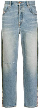 D-Deepcheckdenim mid-rise straight jeans