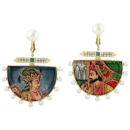 Enamel Hand Painted Diamond Emerald Maharaja 18 Karat Gold Earrings For Sale at 1stDibs