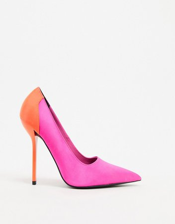 ASOS DESIGN Prince pointed pumps in bright pink and orange | ASOS