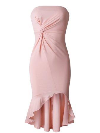Strapless Flounced Bodycon Dress (pink)