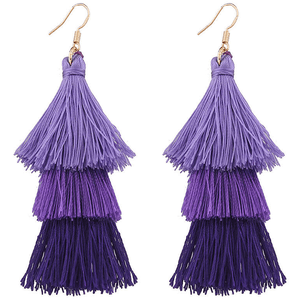 Purple Tiered Tassel Drop Earrings for $24.00 available on URSTYLE.com