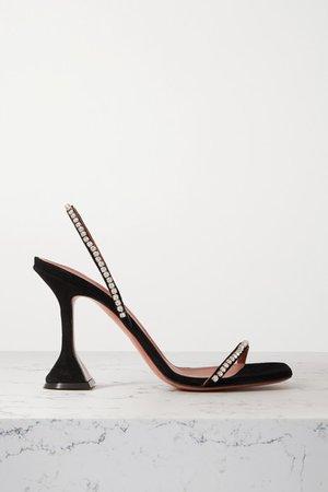 Jade Crystal-embellished Suede Slingback Sandals - Black