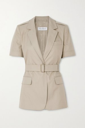 Taupe Cesare belted cotton-twill jacket | Max Mara | NET-A-PORTER