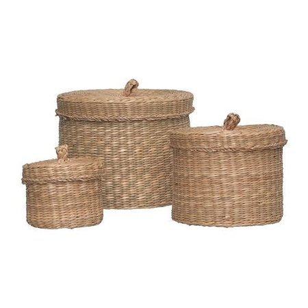 Ikea Ljusnan Set of 3 Seagrass Baskets with Lids by LJUSNAN: Amazon.co.uk: Kitchen & Home