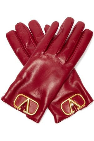 VALENTINO V Logo Plaque Leather Gloves - Womens - Burgundy