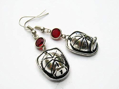 Amazon.com: Fire Helmet Birthstone Earrings, Personalized Firefighter Earrings, Fireman Hat Charm, First Responder Jewelry: Handmade