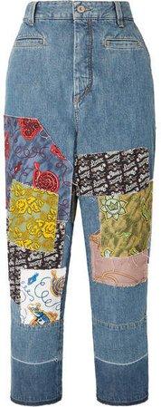 Paula's Ibiza Cropped Patchwork Boyfriend Jeans - Indigo