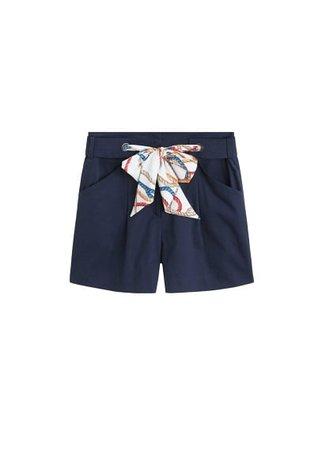 MANGO Printed belt shorts