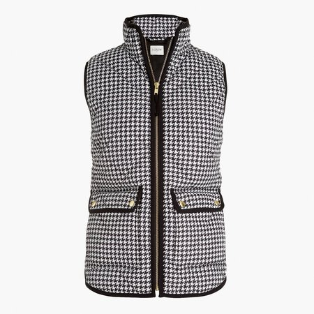 Houndstooth puffer vest with snap pockets