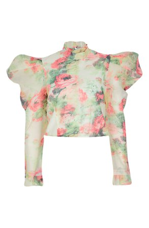 River Island Floral Puff Sleeve Blouse   Nordstrom