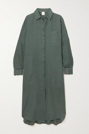 Leisure Procida Linen Shirt Dress - Dark green