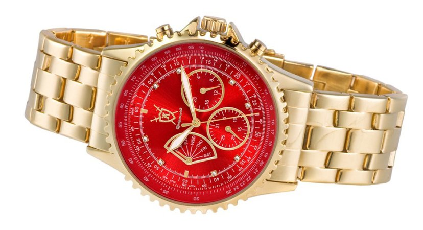 gold and red watch