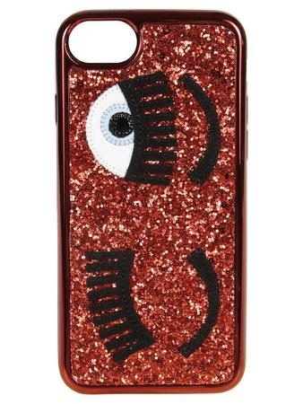Chiara Ferragni Chiara Ferragni Glittery Iphone 8 Cover - Red - 10522928 | italist