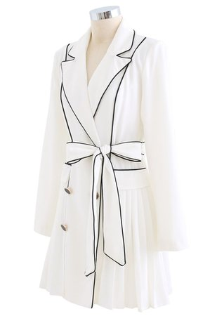 Piped Double-Breasted Pleated Blazer Dress in White - Retro, Indie and Unique Fashion