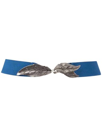 Blue Interlocking Silver Tone Leaves Thin Elastic Belt – Luxury Divas