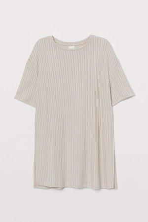Rib-knit Top - Beige