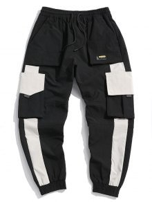 Chinese Character Applique Contrast Cargo Jogger Pants In BLACK | ZAFUL