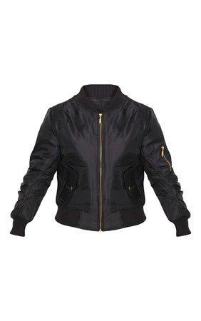Alexus Black Bomber Jacket | Knitwear | PrettyLittleThing
