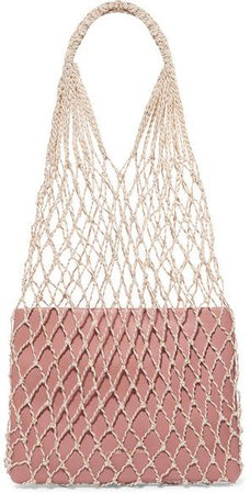 Adrienne Macramé And Leather Tote - Blush