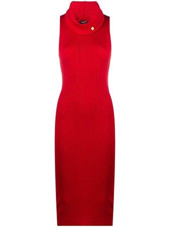Balmain button-detail Ribbed Knit Dress - Farfetch