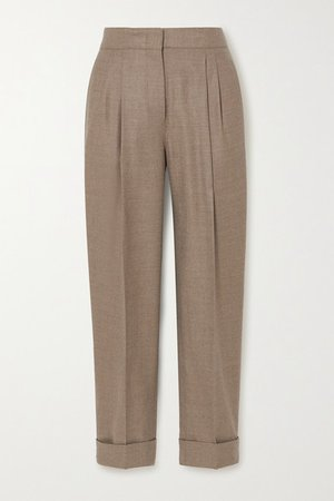 Leblon Wool And Silk-blend Straight-leg Pants - Beige